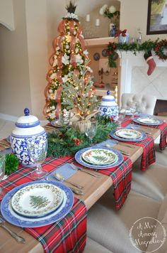 This weekend we hosted friends and family for a Christmas party. I didn't end up getting too many pictures of the table before the party st. Blue Christmas Decor, Tartan Christmas, Christmas China, Christmas Interiors, Christmas Home, Christmas Holidays, Holiday Decor, Christmas Dishes, Christmas Brunch
