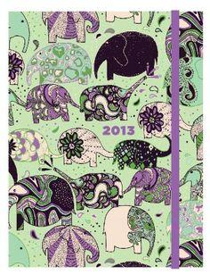 2013 Weekly Planner 6x8 Flexi Elephant Train Engagement Calendar