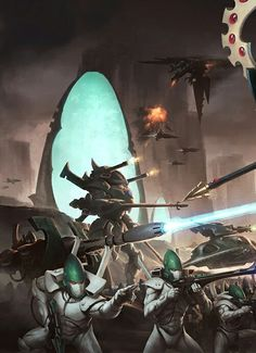 Biel-tan Craftworld engaging the forces of chaos with the most powerful weapons they have at their disposal