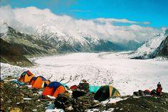 Base camp (4100m) of Spantik (7027m), Chogulungma Glacier from base camp.