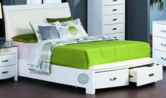 Lyric White Queen Sleigh Storage Bed