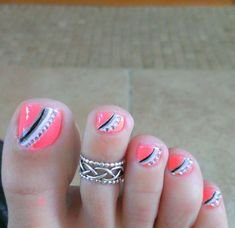 Pink Toe Nail with Gems and Strips Accented.