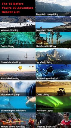 The Great Outdoor Bucket List. How many have you done? All I've done is scuba diving haha