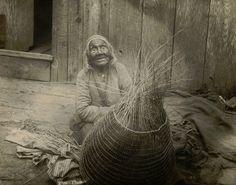 Native American Indian basket weaver, 1900