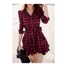 Plaid Print Button Closure Red A Line Dress ($17) ❤ liked on Polyvore featuring dresses, vestidos, robes, people, red, long sleeve dresses, red mini dress, long sleeve a line dress, a line dress and red long sleeve dress