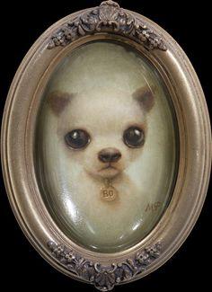 "Marion Peck ""Little Puppy"" Oil on canvas. Marion Peck, Mark Ryden, Art Addiction, Ppr, Lowbrow Art, Little Puppies, Arte Pop, Art For Art Sake, Animal Paintings"