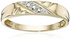 10k Yellow Gold Diamond-Accent Wedding Band >>> You can find more details by visiting the image link.