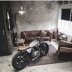 "elegant-apparatus: "" Looks like the living room is the NEW garage… I like it 😎. Via @relicmotorcycles 👍 """