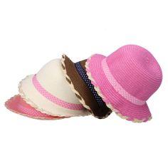Lovely Hemp Flowers Brim Dot Band Decor Children Straw Hat Kids Girl Beach Cap