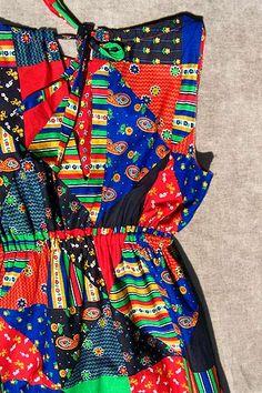 patchwork-print maxi dress --  deadlyvintage.com