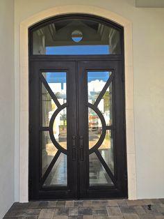 Iron Doors Depot Adonis Premium Flat Top Iron Prehung Front Entry Door Door Size: H x W Iron Door Design, Iron Doors, Front Door, Contemporary Decor, Contemporary Stairs, Doors, Contemporary Farmhouse, Front Entry, Exterior Doors