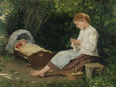 Albert Anker - Knitting Girl and Toddler