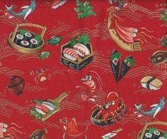 Animated Sushi Design on a Red Background  Size: 1 yard x 44 inches in wide Style: 100% Cotton Our Price:  $6.00 /yd Shipping/Handling: $4.55