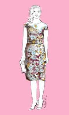 So trägt die klassisch-elegante Frau den Flower-Look: Edle Blüten-Dessins auf purer Seide als Etuikleid mit kleinen Drapierungen.