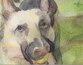 5 Blank Note Cards - German Shepherd - Thank You cards, Birthday card, Greeting Card, Invitations, Teacher Gift, Pet Lover, Watercolor, K9