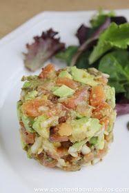 Cocinando entre Olivos: Tartar de salmón con aguacate. Receta paso a paso