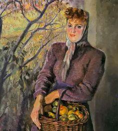 Joseph Abhar - Gisela mit dem apfelkorb by Conrad Felixmüller, (German 1897-1977)