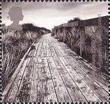British Stamp 2000 - 44p, Cliff Boardwalk (Parc Arfodirol, Llanelli Coast) from Millennium Projects (3rd Series). 'Water and Coast' (2000)