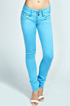 Trixie 3 Button Front Super Stretch Denim Jeans at boohoo.com