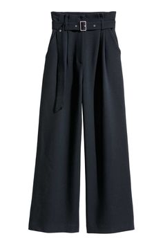 Wide-cut pants in woven fabric with a high waist. Soft removable belt pleats at top and zip fly. Dropped gusset side pockets and wide straight legs. Wide Trousers, Wide Leg Pants, Navy Blue Pants, New Pant, Spring Looks, Fashion Company, Everyday Fashion, Dress Pants, Fashion Online