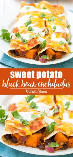 This is the best Vegetarian Enchiladas Recipe! Filled with sweet potato and black beans, these easy enchiladas are healthy and full of flavor! Leave out the cheese for vegan enchiladas. The only veggie enchilada recipe you need! Vegan Enchiladas, Sweet Potatoe Enchiladas, Bean And Cheese Enchiladas, Black Bean Enchiladas, Veggie Recipes, Dinner Recipes, Healthy Recipes, Vegetarian Sweet Potato Recipes, Vegetarian Cheese