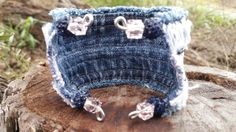 Frayed Denim Cuff Bracelet with Lace and Bugle by DenimReDooz