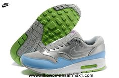 New Silver Light Blue 2014 Mens Nike Air Max 1 87 Running Shoes