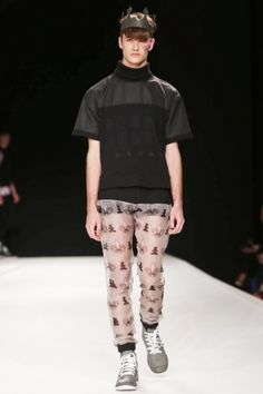 Man Menswear Spring Summer 2014 London via http://nwf.sh/13LkyOh--- and in case you need some gay rainpants... there u go.