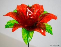 Repurposed Orange Fun Flower Made of Plastic Water Bottles