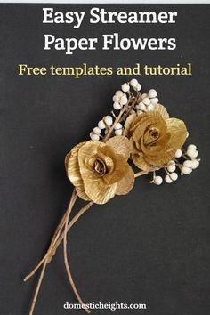 DIY paper flower template, easy streamer crepe paper flower tutorial with free templates Diy Home Crafts, Easy Home Decor, Handmade Home Decor, Handmade Decorations, Easy Crafts, Easy Diy, Adult Crafts, Dyi, Wedding Decorations