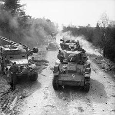 M5A1(Stuart VI ) tanks of 15th (Scottish) Division during the advance to the  Elbe, 13 April 1945