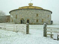 Old stone round barn