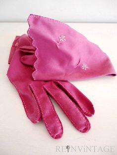 vintage gloves MAUVE ROSE embroidered flower by shopREiNViNTAGE, $44.00
