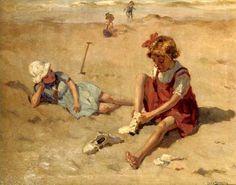 Lodewijk 'Louis' Soonius (1883-1956) Spelende kinderen op het strand van Scheveningen. (Coll. Christies.com)