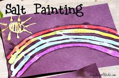 Salt painting via Juggling With Kids. Draw a picture with glue, sprinkle with salt, then drop colored water and watch as the salt spreads the colors like magic.