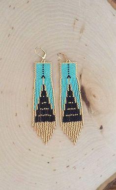Delica Seed Bead Fringed Earrings Aqua Blue Gastby by Seed Bead Earrings, Fringe Earrings, Blue Earrings, Brick Stitch Earrings, Seed Beads, Seed Bead Jewelry, Beaded Jewelry, Diy Earrings, Hoop Earrings