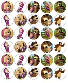 Details about Masha And The Bear Cupcake Toppers Edible Wafer Paper BUY 2 GET…