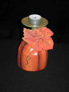 Pumpkin candle holder, wine glass, hand painted