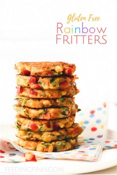 These rainbow fritters are a perfect finger food for kids and are great for blw (baby-led weaning). Packed with veggies for nutrients and made with chick pea flour for extra protein. Gluten free.
