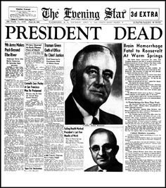 USA. 1945. Cover of the Evening Star. The death of Franklin D. Roosevelt.