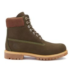 Timberland Men's 6 Inch Premium Boots - Dark Olive Waterbuck NB ($220) ❤ liked on Polyvore featuring men's fashion, men's shoes, men's boots, men's work boots, brown, timberland mens boots, mens brown boots, mens brown leather lace up boots, mens water proof boots and mens work boots