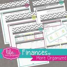 Finances. More Organized. - Monthly Budget, Cash Flow, Automatic Payment, Debt Payoff, and Savings Goal Tracker Digital File