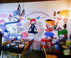 The graffiti Restaurant Themes, Deco Restaurant, Modern Restaurant, Cafe Design, Store Design, Indian Cafe, Cafe Wall, Tv Wall Design, Cartoon Wall
