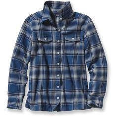 Patagonia Fjord Flannel Shirt ($89) ❤ liked on Polyvore featuring tops, patagonia, blue shirt, boyfriend shirt, tartan top and patagonia shirt