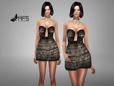 MFS Calliope Dress by MissFortune at TSR via Sims 4 Updates