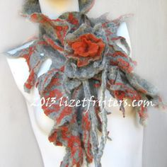 Charcoal Grey and Red Nuno Felted Scarflette - Neckpiece  - Eco Fashion - Fibre Art with Felted Flower Closure and Wavy Edges Ruffles