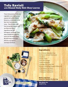 Tofu Ravioli with Glazed Baby Bok Choy Leaves