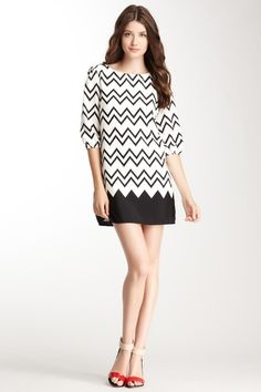 Pink Owl Scoop Neck 3/4 Sleeve Print Dress by Non Specific on @HauteLook