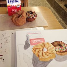 Painting outside the studio and Donut Week continues! Someone once told me that Bob's Donuts NEEDS the milk. So it gets the milk. #wip #watercolor #illustration #donuts