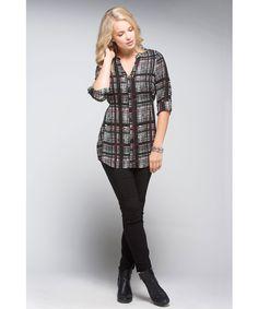 Plaid Chiffon Shirt Tunic in Black / Ivory / Scarlet Plaid  #rickis #fall2015